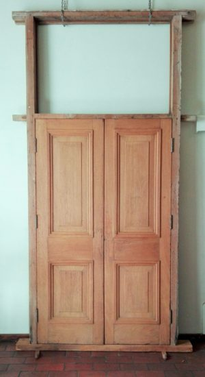 Pair of 19th century teak double doors with fanlight frame