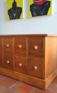 Drawers made from reclaimed 19th century piranha pine and yellowwood