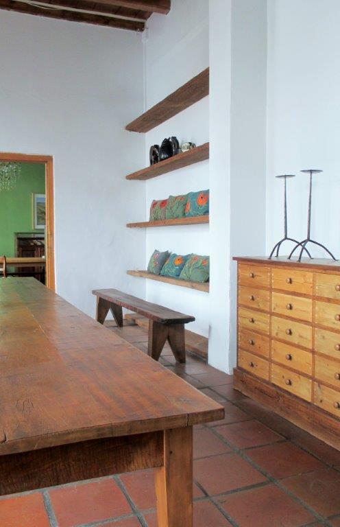 Bench, table and drawers, reclaimed wood