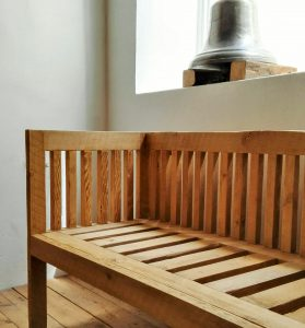 Bench made from reclaimed 19th century reclaimed Oregon pine