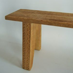 Handcarved benches made from reclaimed 19th century Oregon pine