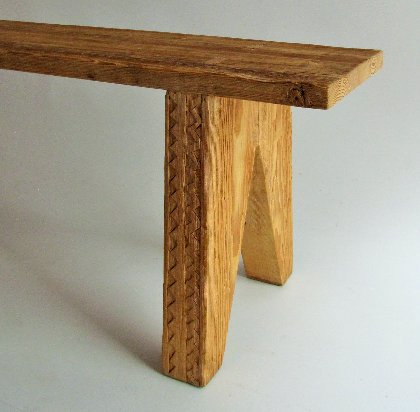 Handcarved benches made from reclaimed Oregon pine