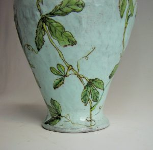 Ceramic vase with Crested Barbet by Lisa Ringwood