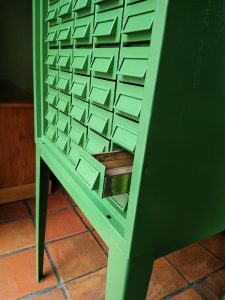Steel storage cabinet painted green
