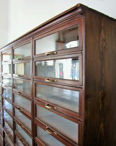 Basswood and Oregon pine display cabinet