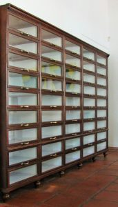 Display cabinet with glass fronted drawers