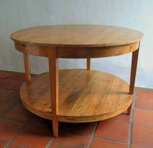 Round table with shelf made from reclaimed 19th century Oregon pine
