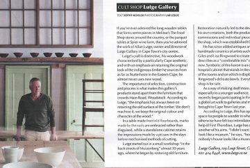 In Business Day's Wanted magazine - 7 June 2013. Lutge Gallery, the cult shop
